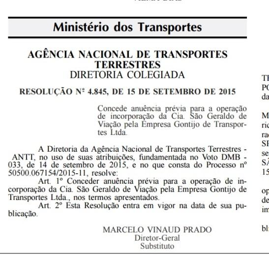 Resolução da ANTT publicada no Diário Oficial da União desta quarta-feira