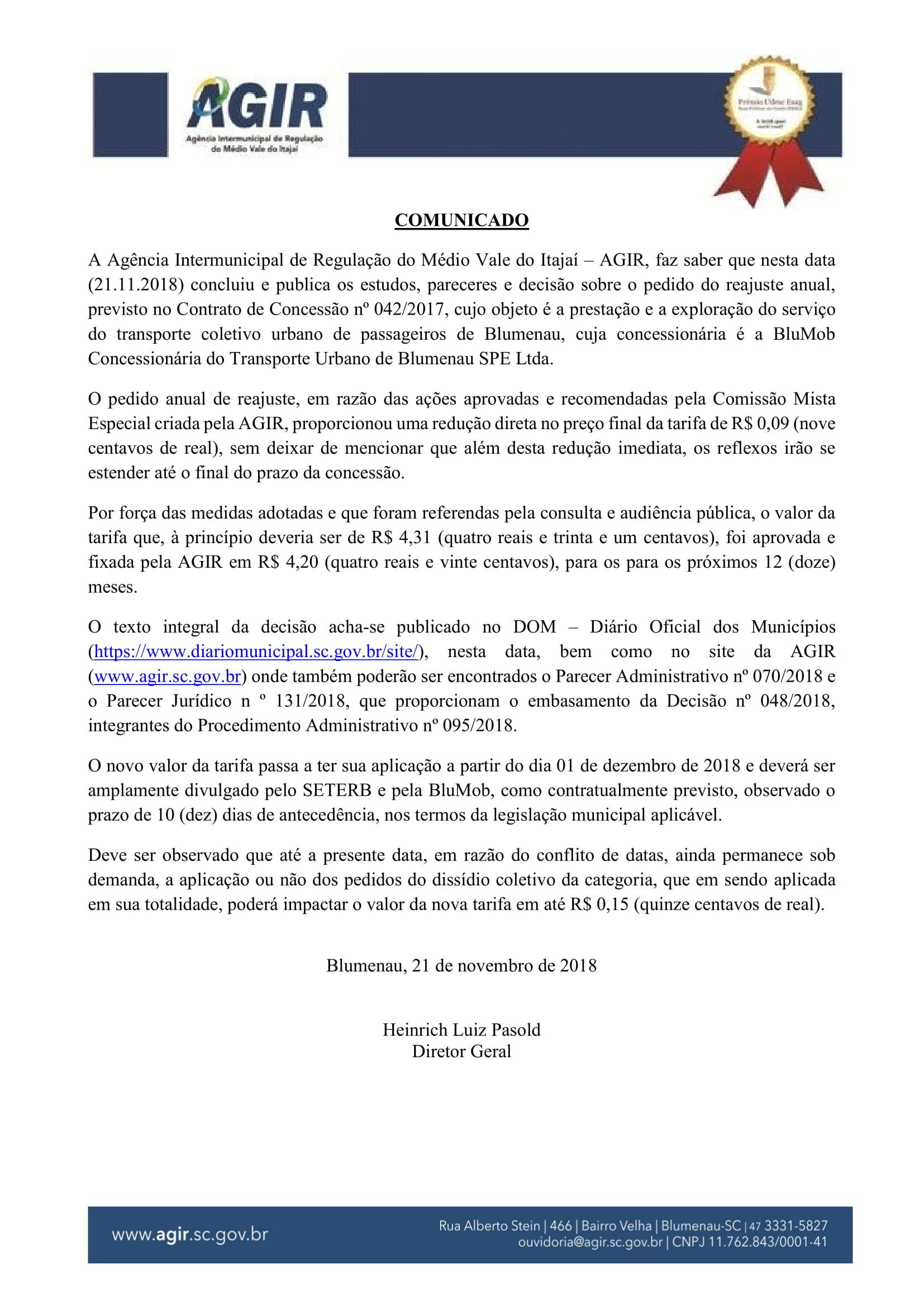 Comunicado 21.11 - Reajuste Tarifário BluMob-1