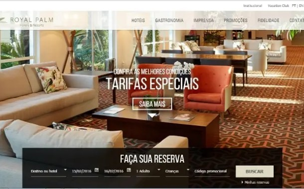 Royal Palm lança novo site com motor de reservas