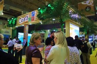 O estande do Ceará ficou lotado durante a distribuição de brindes na WTM Latin America 2018. (Crédito: Ana Azevedo)