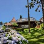 Hortênsias e jardins floridos recebem os hóspedes no Vila Inglesa e no Hotel Fazenda Mazzaropi