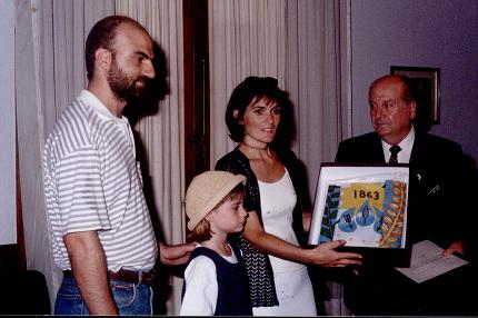 Isabel Torres junto al entonces intendente Blanco, en el año 1999.