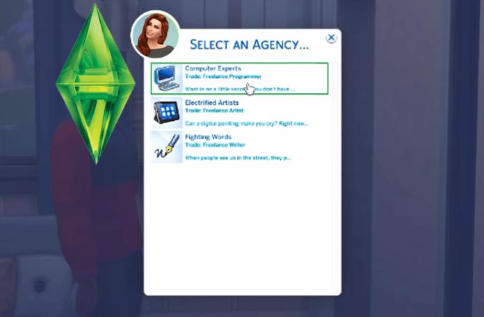 Selecciona u profesión freelancer en los Sims 4