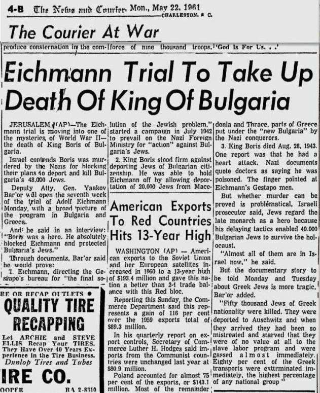 Eichmann Trial, The News and Courier, May 22, 1961