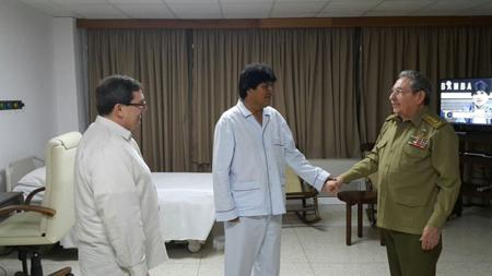 Momentos cuando el mandatario cubano realizaba la visita a Morales