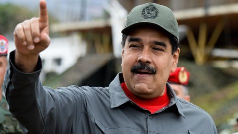 Venezuelan President Nicolas Maduro gestures as he arrives for the military exercises at Fort Tiuna in Caracas on February 24  2018    AFP PHOTO   FEDERICO PARRA