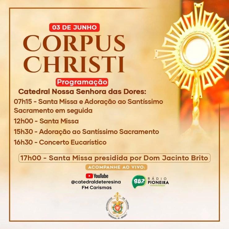 Arquidiocese de Teresina divulga programação para Corpus Christi