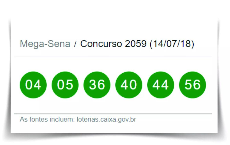 Último resultado da Mega-Sena, Concurso 2059 deste sábado 14