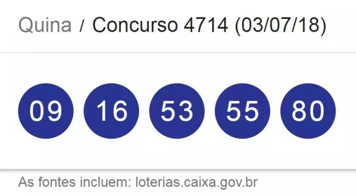 Resultado da Quina, concurso 4714/ Imagem de captura da Loterias Caixa