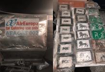 ¡Droga!, Camuflaron 20 paquetes de cocaína en bultos