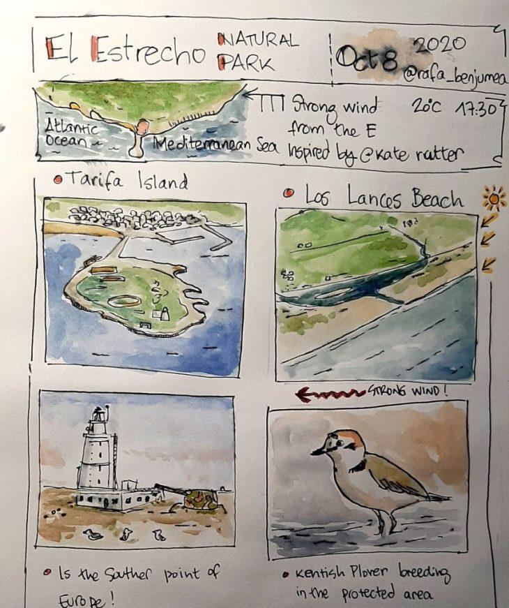 Paseo ilustrado por la Isla de Tarifa. Aprenderás a realizar composiciones
