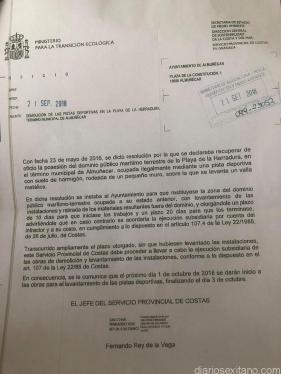 ESCRITO DE COSTAS SOBRE POLIDEPORTIVO FIJANDO 1 OCTUBRE OBRAS RETIRADA 18