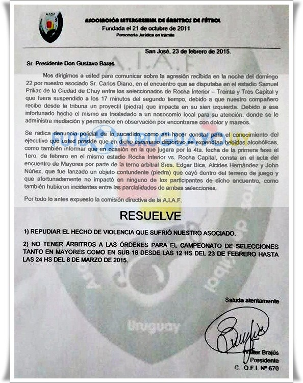 EXCLUSIVO. Aquí está la nota del gremio AIAF dirigida al presidente de la OFI, contando detalles del hecho contra el árbitro Carlos Diano. Dando cuenta que ya se registró la denuncia policial respectiva. Por todo lo antes expuesto la comisión directiva de la A. I. A. F.