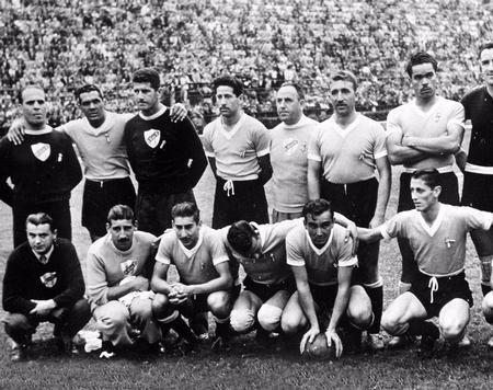 World Cup Final, 1950. Brazil. Maracana Stadium, Rio De Jainero. Brazil 1 v Uruguay 2. 16th July, 1950. The Uruguay Team, World Champions 1950 after beating Brazil.