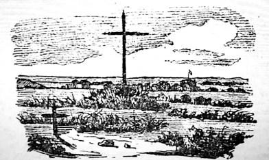 Primitivo cementerio de Salto. Al fondo la línea fortificada de 1845. Este lugar hoy se ubica entre las calles 19 de Abril, Grito de Asencio, Dr. Soca y Agraciada.