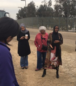 Image of Ramla Sahid speaking at the border tour.