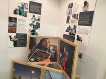 Image of an art and story exhibit at the PANA office where we heard from victims targeted by Homeland Security by the border.