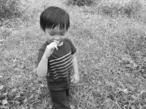 Image of Collin looking down and smelling a flower in park.