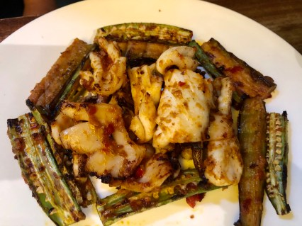 Grilled squid with spicy okra and eggplant