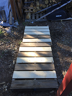 Palets used as a walkway to the wood shed