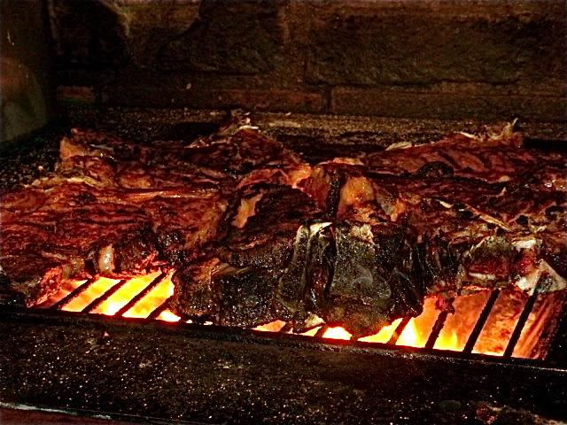 T-Bone steak on the grill.