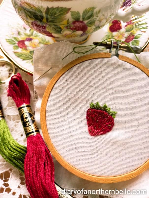 strawberry hoop art and strawberry bone china teacup