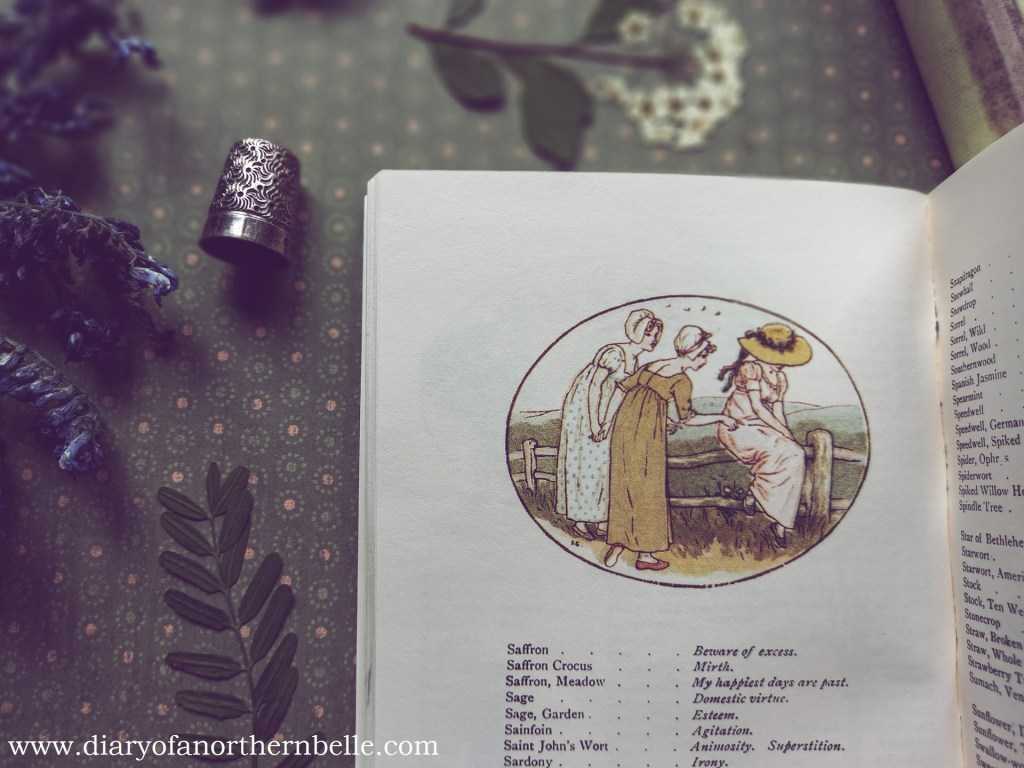 kate greenaway illustration in floriography dictionary