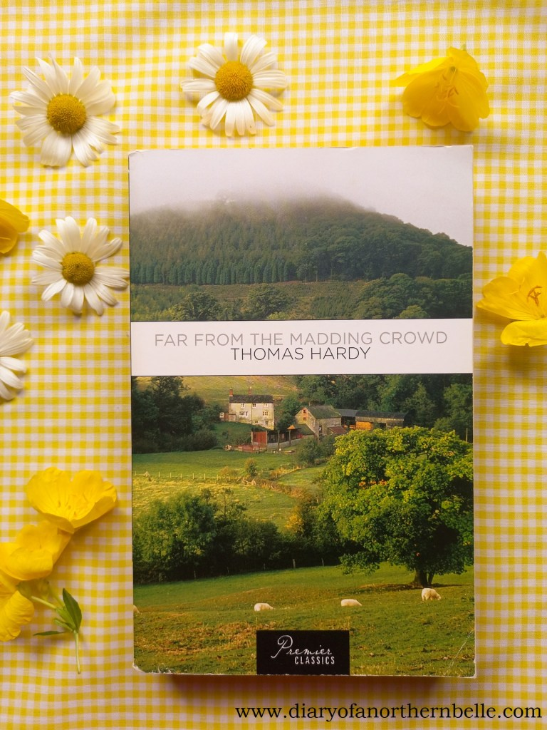 Far From the Madding Crowd book copy surrounded by summer flowers