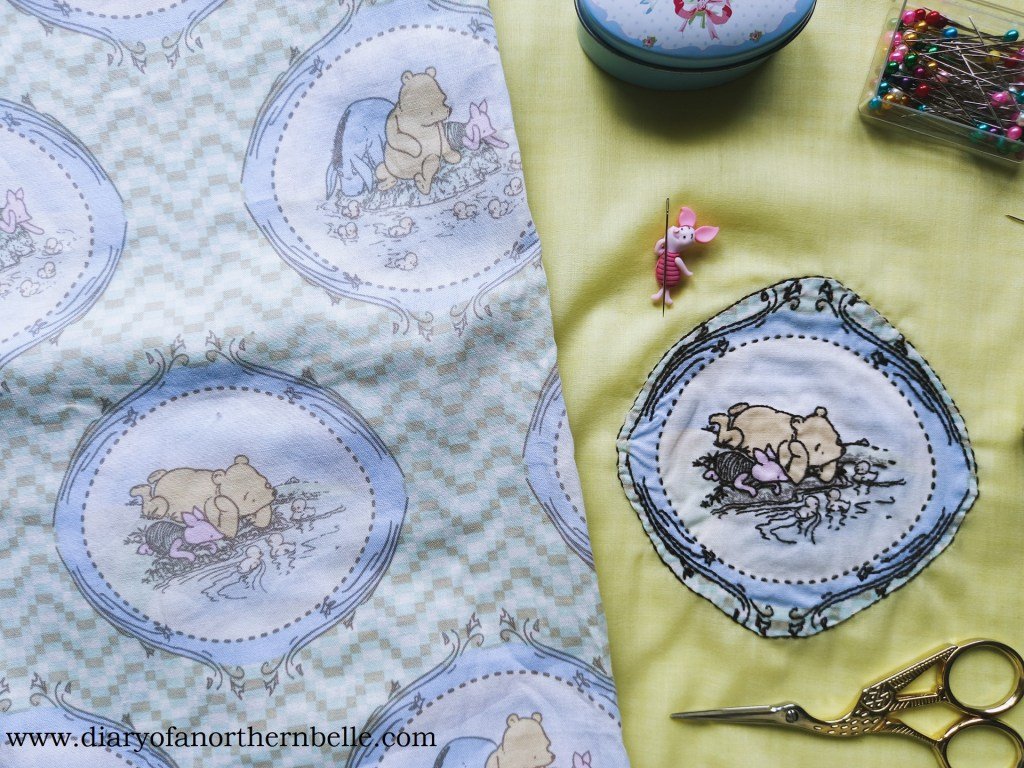 winnie-the-pooh fabric and embroidered patch