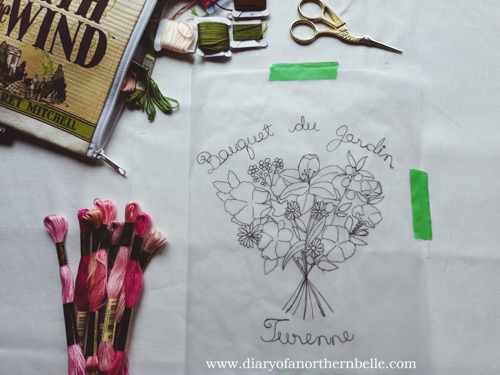 garden bouquet embroidery design traced onto tracing paper
