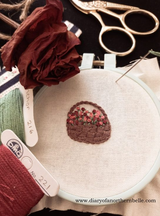 basket of roses embroidery to elevate home decor