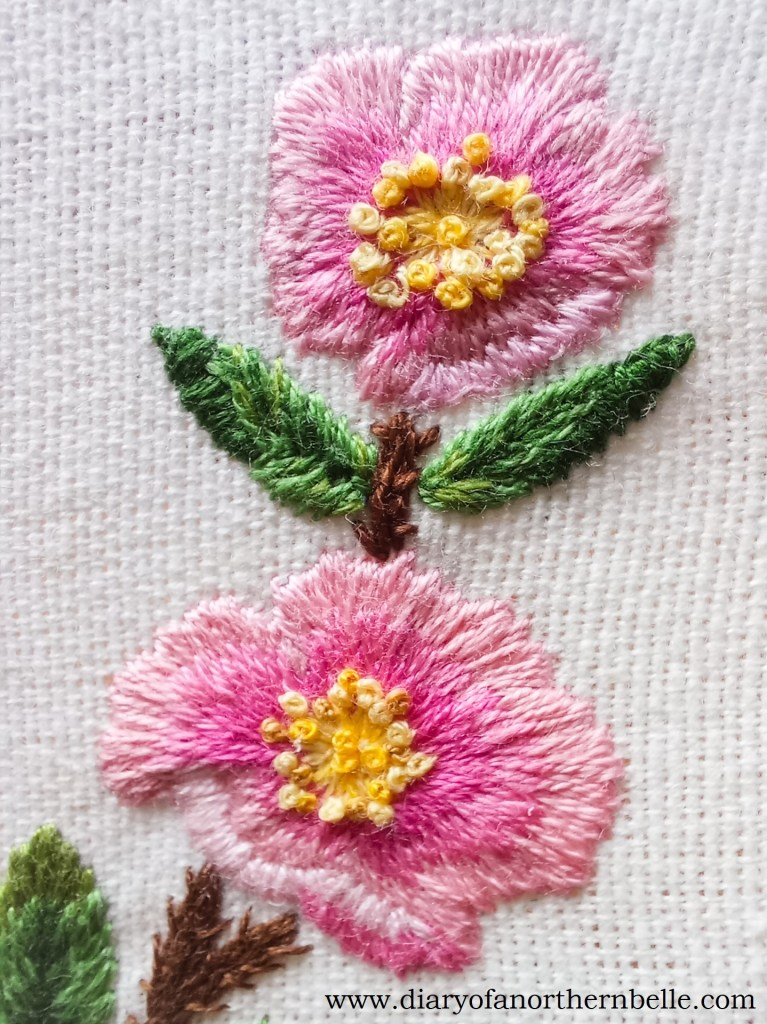 finished embroidered wild roses