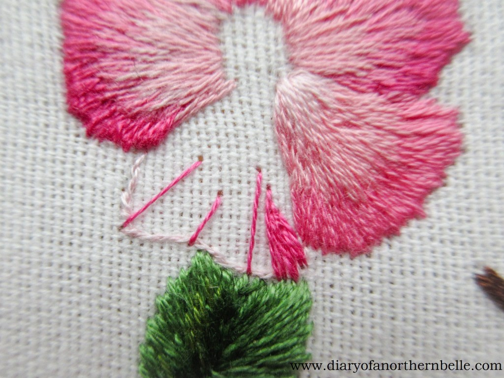 first layer of long & short stitch on wild rose petal