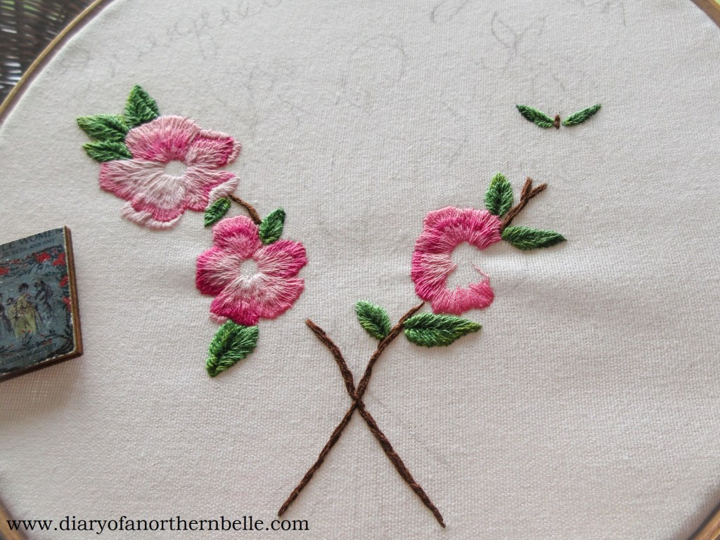 embroidered wild roses in needle painting style