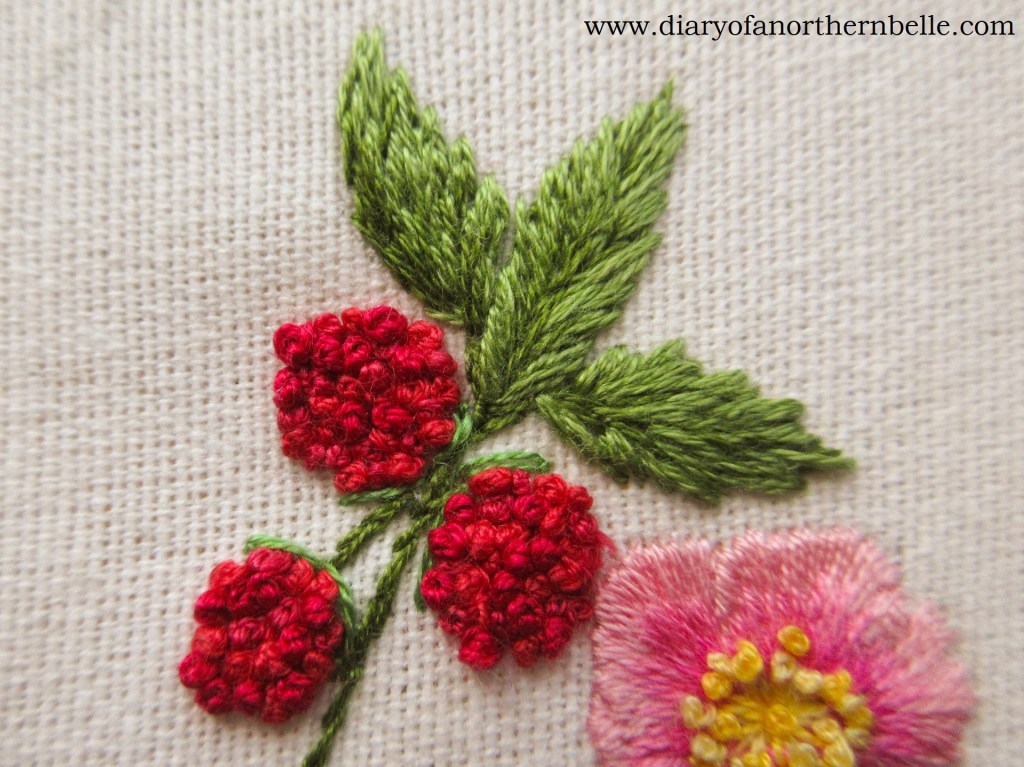 embroidered raspberry leaves with straight stitches
