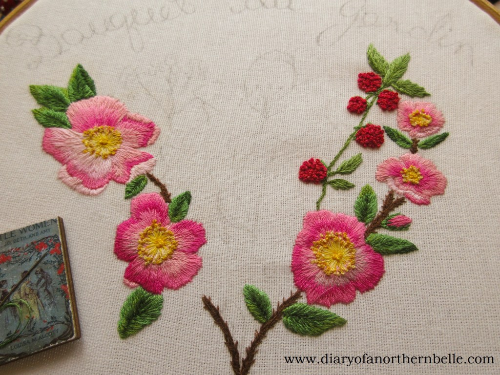 embroidered wild roses and raspberries on garden bouquet project