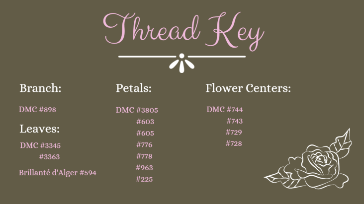 thread key: branch DMC 898, Leaves DMC 3345, 3363, Brillanté d'Alger 594, Petals DMC 3805, 603, 605, 776, 778, 963, 225, Flower centers DMC 743, 744, 728, 729