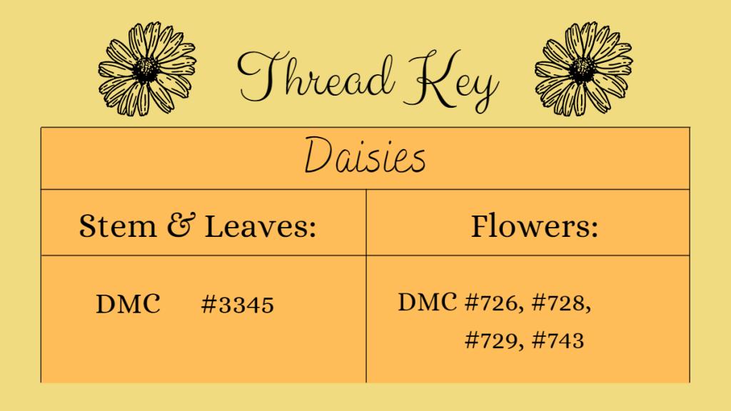 thread key for daisies: stems & leaves DMC 3345, Flowers DMC 726, 728, 729, 743