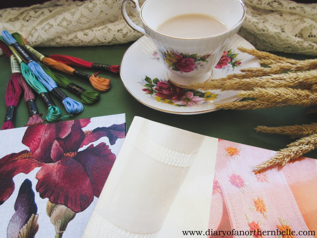 embroidery book recommendations and vintage teacup