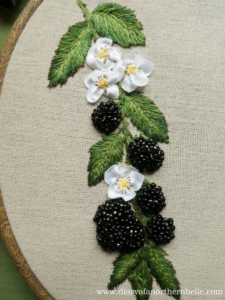 beaded blackberry branch, completed
