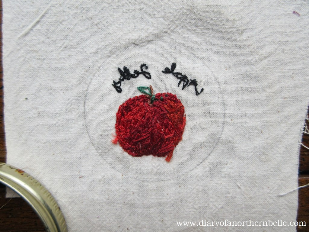 trace the inner jar ring around your embroidery