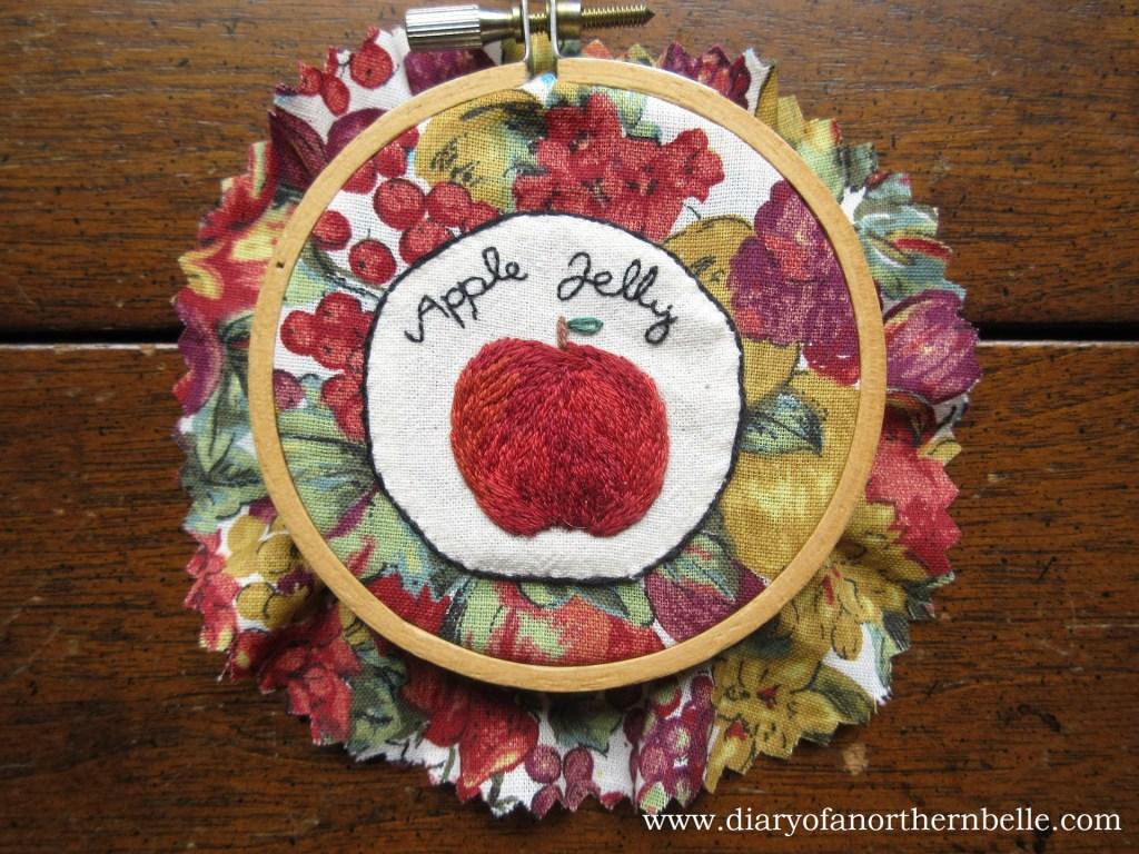 finished hem stitch border around embroidered appliqué