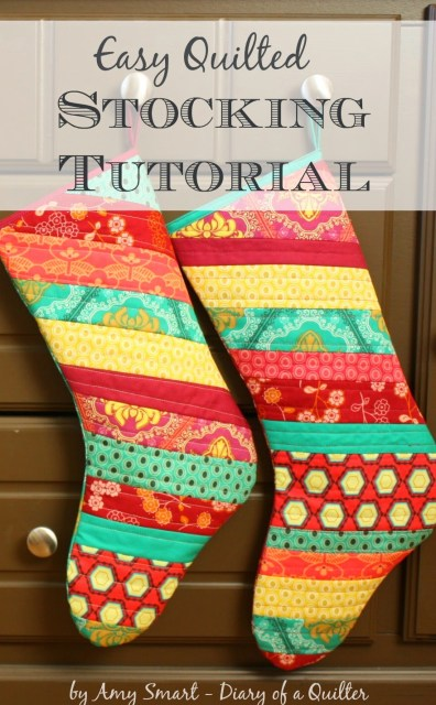 Scrap-friendly Quilted Christmas Stocking Tutorial by Amy Smart