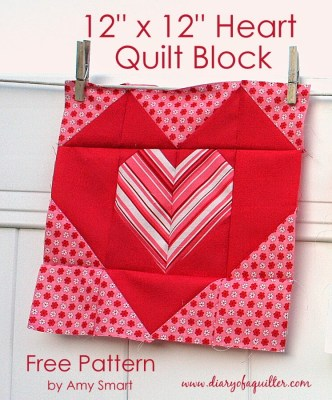 "Free Heart Quilt Block tutorial - finishes at 12"" x 12"" - by Amy Smart of Diary of a Quilter"