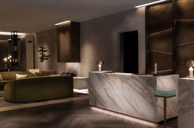 Lobby, Hilton Hotel, Milan features Neolith surface solutions