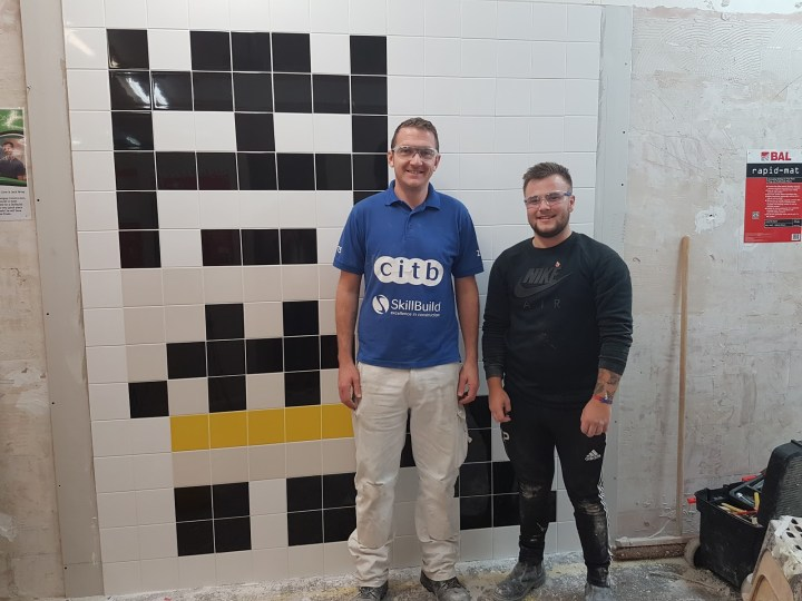 Steve Roberts, Leeds College of Building (left) with Callum Pearson
