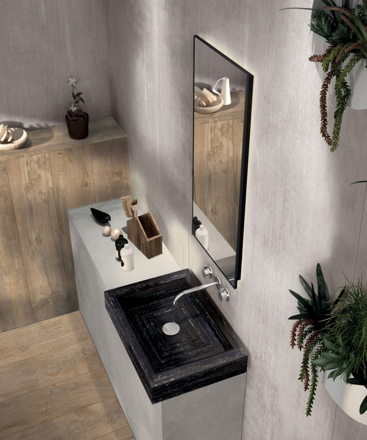 Surface-mounted washbasin featuring Flaviker surfaces
