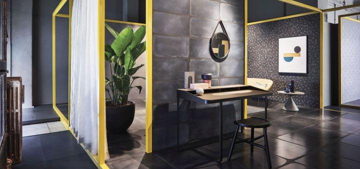 Shades Night (600x600), Night Wash (600x600mm), Night Wash (300x600mm), and Night Drip (200x200mm) Ceramiche Piemme tile range NYCxDESIGN