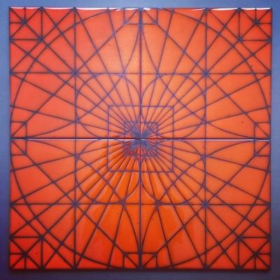 "Kismet Copernicus in Julius glaze (8""x8"") kismet tile ceramic design"