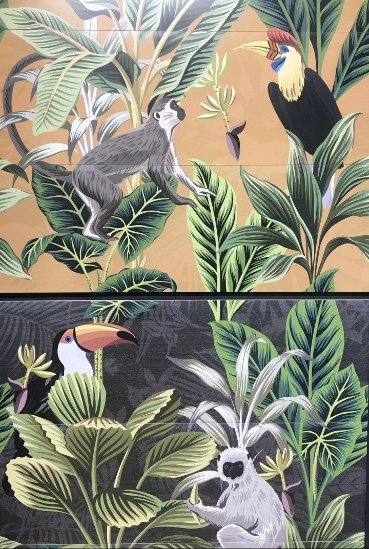 APE Grupo Cersaie tile Silk Collection Decor Set (3) Toucan Ocre and Graphite (400x1200mm)